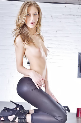 Abby with slim body in hot black tight dress